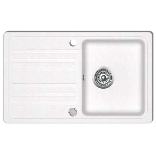 Granite Kitchen Sink Single Basin with Drainer Reversible Cream White