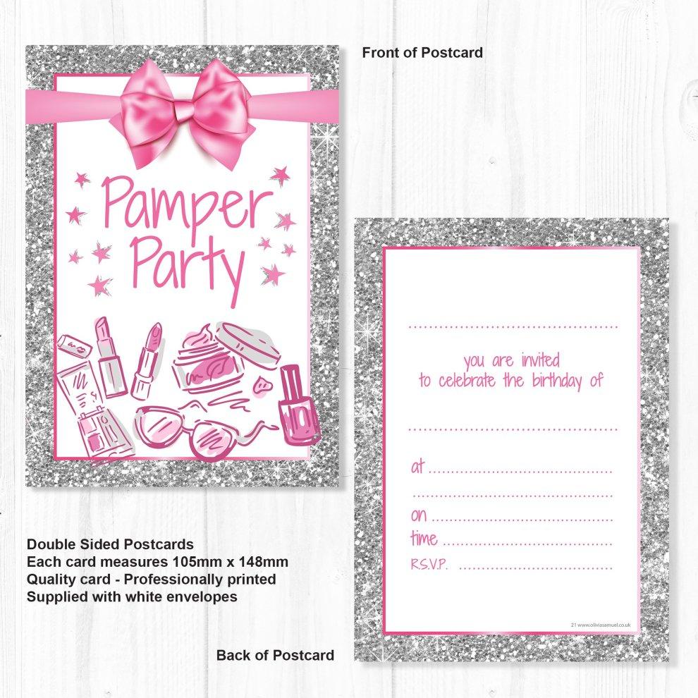 Olivia Samuel Pamper Party Invitations