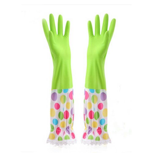 Elastic Waterproof Gloves Laundry Gloves Cleaning Gloves Kitchen Rubber Gloves