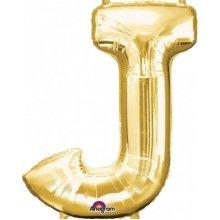 Letter J Supershape Gold Foil Balloon 34/86cm P50