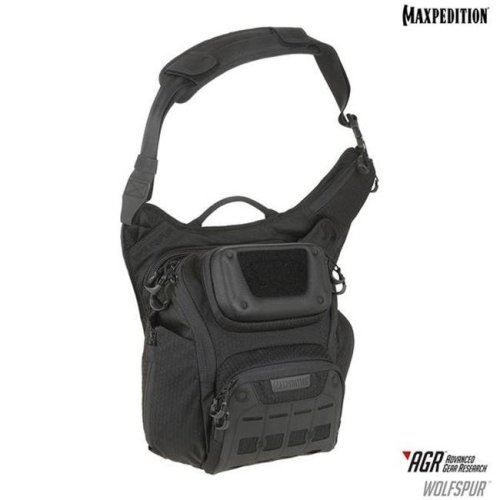 Maxpedition WLFBLK Wolfspur Crossbody Shoulder Bag, Black