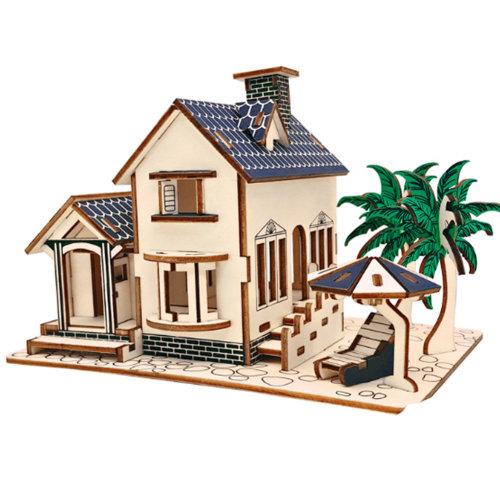 3D Wooden Puzzle Architecture Building Puzzle DIY Toys 2 Pcs #2