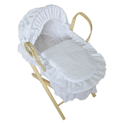 Beautiful Dolls Moses Basket Broderie Anglaise White