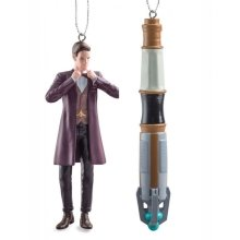 Doctor Who Eleventh Matt Smith & Sonic Screwdriver Christmas Ornaments