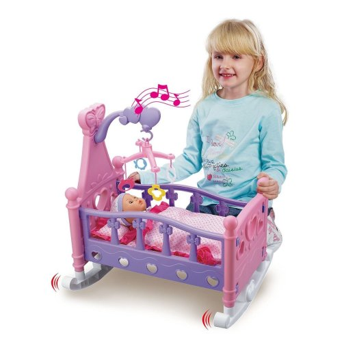 Vinsani Mommy & Baby Childrens Pretend Play Rocking Musical Cradle Bed Cot With Doll Toy