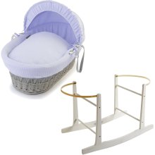 Grey Wicker Blue Waffle Moses Basket With White Rocking Stand