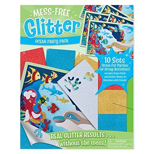 Melissa & Doug Mess-Free Glitter Ocean Party Pack - 10 Sets of Scene Cards and Sticker Sheets to Decorate