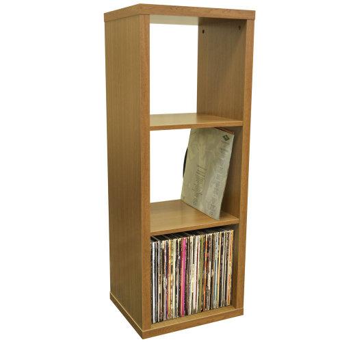 CUBE - 3 Cubby Square Display Shelves / Vinyl LP Record Storage - Oak
