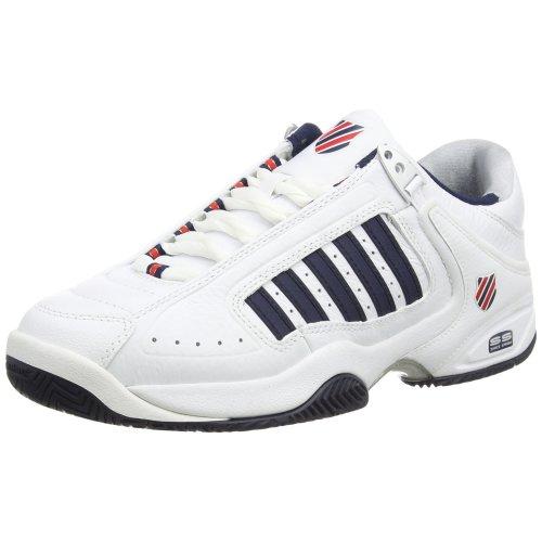 K-Swiss Performance Defier Rs, Men's Tennis Shoes, White (White/Dressblue/Fieryred 164), 9 UK (43 EU)