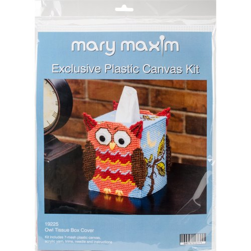 "Mary Maxim Plastic Canvas Tissue Box Kit 5""-Owl (7 Count)"