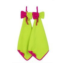 Set Of 2 Bowknot Apple Green Hand Towel For Kitchen&Bathroom&Toilet 33x33cm