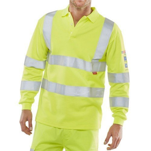 d87667e2ec21 Click CARC2HVSYM ARC Compliant Flame Retardant Hi Vis Long Sleeve Polo Shirt  Medium on OnBuy