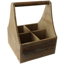 Oak Effect Four Bottle Wooden Carrier
