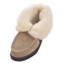 Ladies Sheepskin Suede and Lambswool Boot Slippers