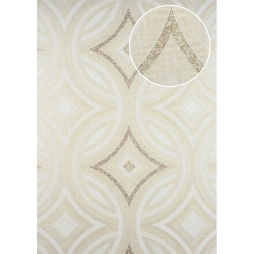 ATLAS HER-5135-3 Graphic wallpaper shimmering cream oyster white 7.035 sqm