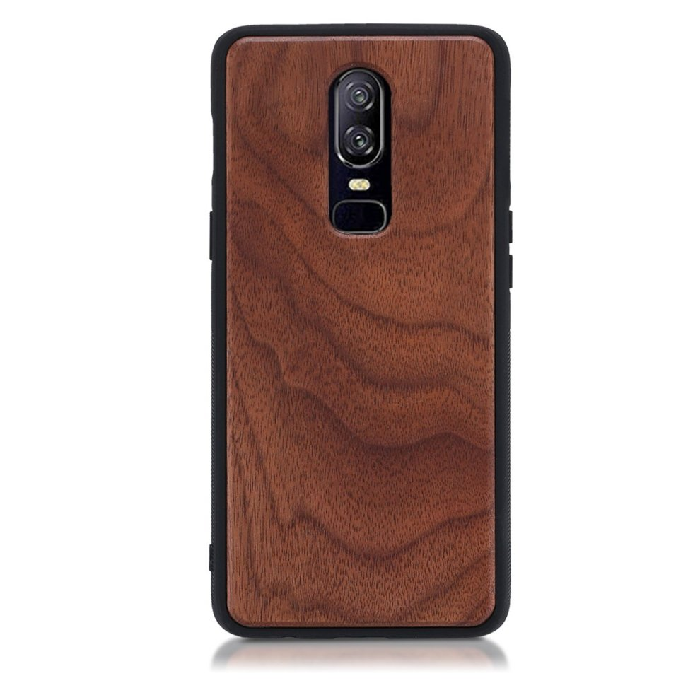 separation shoes 6f778 ad5ed kwmobile Wooden protective cover for OnePlus 6 - Hard case with TPU Bumper  walnut in Dark Brown