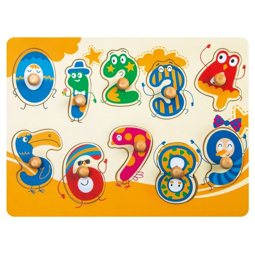 Robotime Wooden Peg Puzzle - See In-Side Numbers (10 pcs)- Educational and learning Toys for 1, 2, 3 Year Old and Up - Classic Board Game for Toddlers