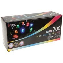 200 Frosted Multi-coloured LED Fairy Christmas Lights - Multi Multicoloured -  200 frosted led lights fairy multi multicoloured christmas warm white