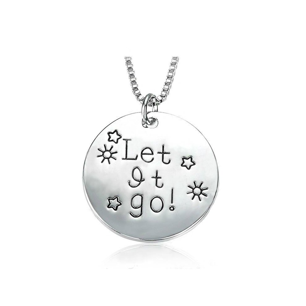 Silver-Tone 'Let It Go' Engraved Pendant Necklace 2 5cm Diameter With 18  Inch Chain Round Frozen Sun Star Ladies