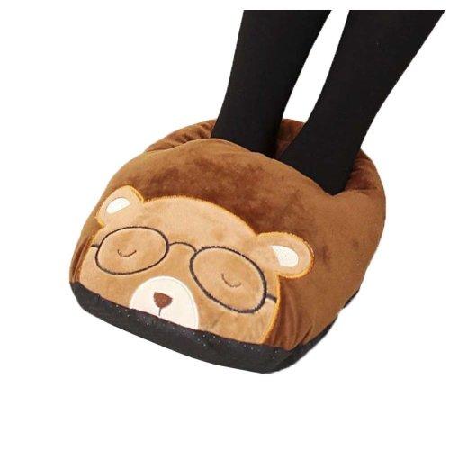 [Glasses Bear] USB Foot Warmer Heating Pad Slippers Washable For Home/Office Warm Feet Treasure