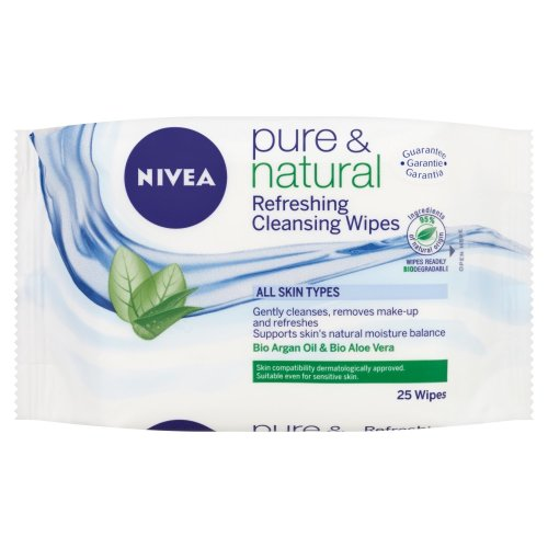 NIVEA Face Cleansing Wipes Pure & Natural, 25 wipes, Pack of 6