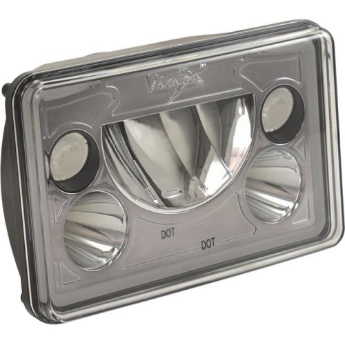 Vision X Lighting XIL-46DB 4 x 6 in. Single Rectangle VX Black & Chrome Face LED Headlight with Low-High-Halo
