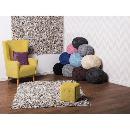 Carpet - Rug - Leather - Shaggy - Light Beige - MUT