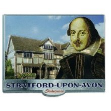 Shakespeare Fridge Magnet Stratford Upon Avon House Foil Stamped Souvenir Gift