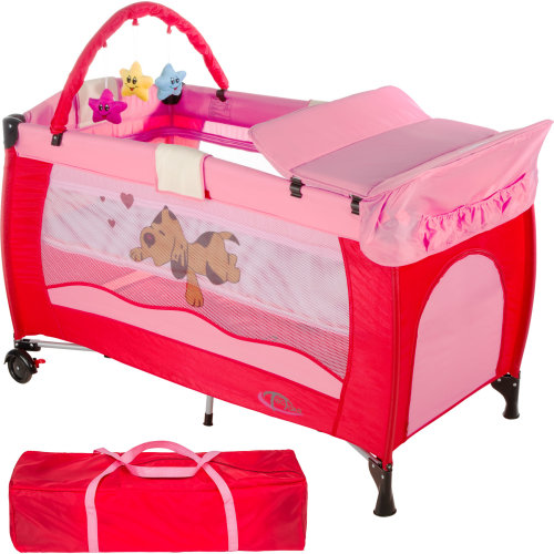 Travel cot dog with changing mat and play bar pink