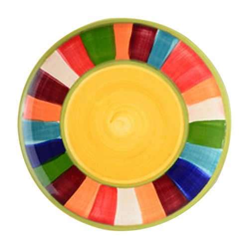 2 Pcs Colorful Hand-painted Pastry Tray Ceramic Dessert Plate