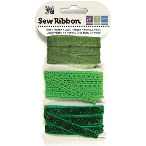 """We R Memory Keepers Sew Ribbon .375""""X6yds-Grass"""