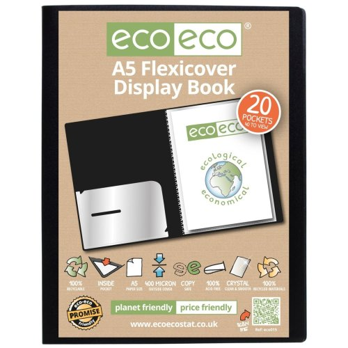 1 x A5 Flexicover 20pkt (40 Views) Presentation Display Book - Black