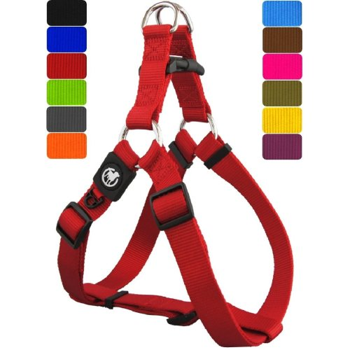 DDOXX Nylon Step-In Dog Harness sizes | for large, medium & small dogs | adjustable | Red, S - 5/8 x 18-24.5 inch | [Lead & Collar sold separately]