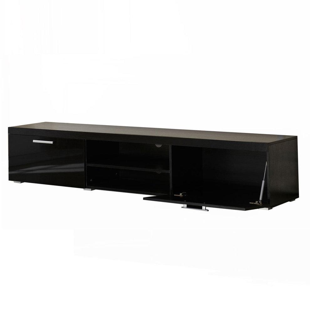 hot sale online 5ea72 9f63c HOMCOM 2 Meter Long Modern TV Cabinet Low Bench Stand Unit 2 High Gloss  Doors Shelves (Black)