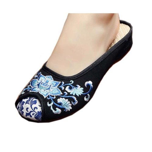 Womens Embroidered Summer Slippers Wedges Sandals Shoes for Cheongsam, #06