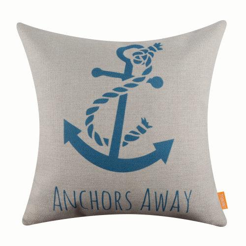 """18""""x18"""" Modern Blue Anchor Burlap Pillow Cover Cushion Cover"""