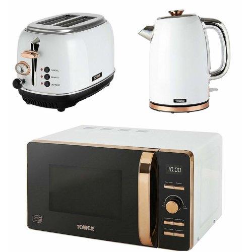 Tower Rose Gold & White Digital Microwave, 2-Slice Bottega Toaster & 1.7L Jug Kettle