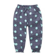 Comfortable Soft Children's Trousers, Dark Blue Bottom And Green Dots