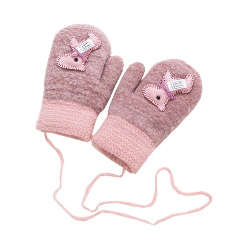 Kids Winter Warm Mittens Plush-lined Gloves With String - Horse, #01