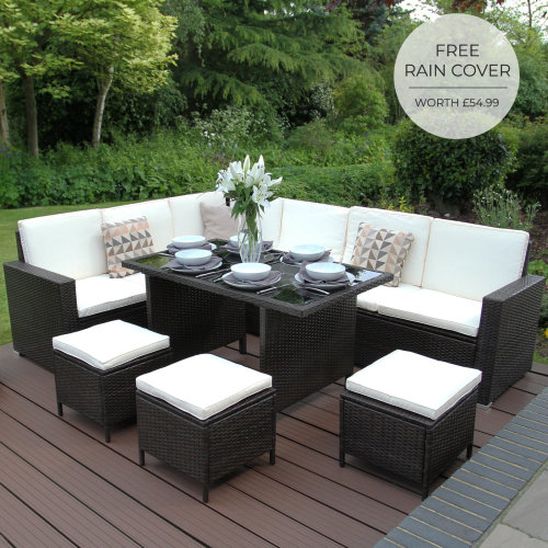 Rattan Garden Corner Furniture Dining Table Set Brown / FREE Cover