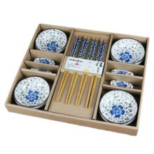 Wedding Business Gift Home Flatware Set Chopsticks/Holder/Dish 12PCS-Blue