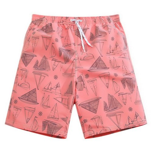 Men's Sports Casual Beach Loose Fashion Shorts, Pink Sailboats