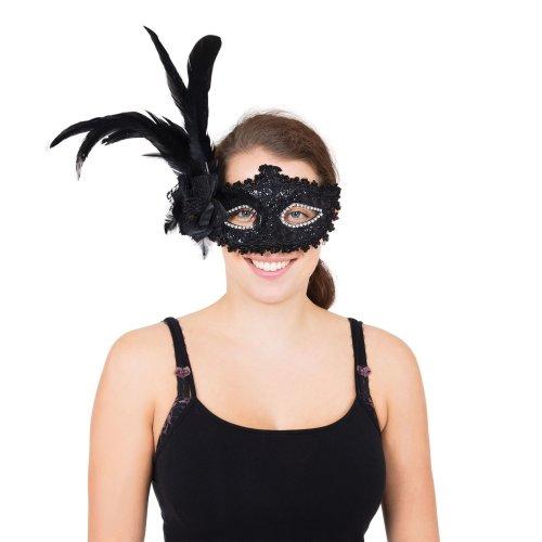 Black Tall Feather Eyemask