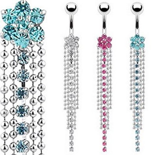 Crystal 7 Gem Flower and Crystal Chain Dangle Belly Bar