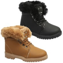 Arwen Girls Kids Flat Fur Lined Lace Up Ankle Boots