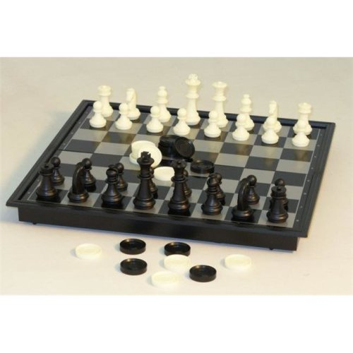 10 in. Magnetic Chess with Checkers by CNChess