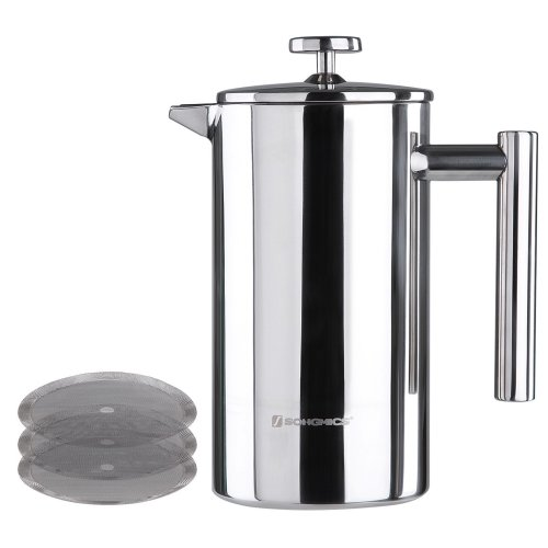 Songmics 304 Stainless Steel Cafetiere French Press Double Walled Cafetiere Café Maker with 2 Filters 1000 ml Silver GCP10S