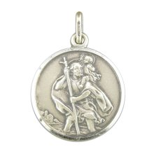 Mens Sterling Silver Large Antique Finish St Christopher Pendant On A Black Leather Cord Necklace