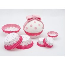 Cake Cups Pink & White Large 75's