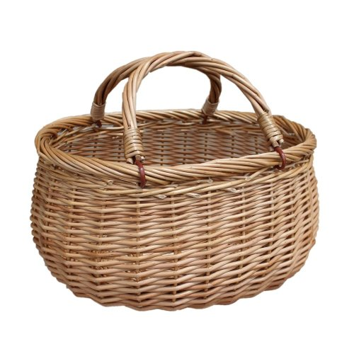 Wicker Basket Light Steamed Swing Handled Coracle Shopper